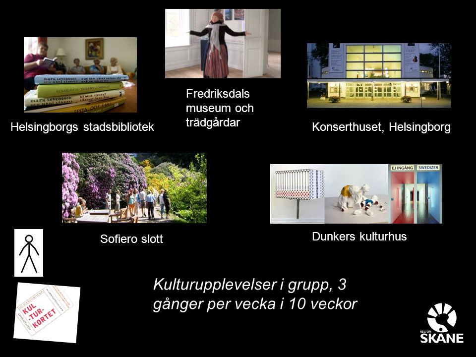Kulturupplevelser i grupp, 3 gånger per vecka i 10 veckor