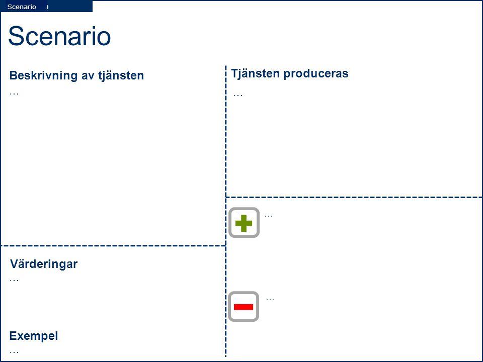 Scenario Tjänsten produceras Beskrivning av tjänsten Värderingar