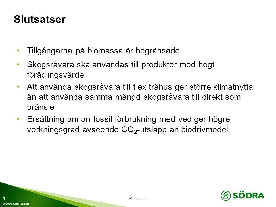 Slutsatser Tillgångarna på biomassa är begränsade