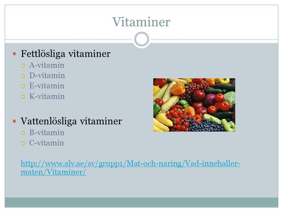 Vitaminer Fettlösliga vitaminer Vattenlösliga vitaminer A-vitamin