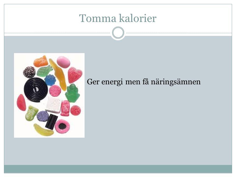 Tomma kalorier Ger energi men få näringsämnen