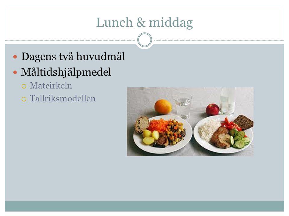 Lunch & middag Dagens två huvudmål Måltidshjälpmedel Matcirkeln