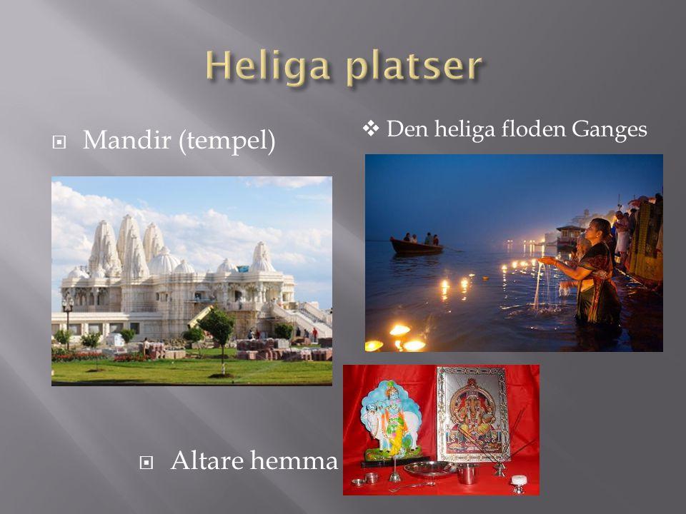 Heliga platser Den heliga floden Ganges Mandir (tempel) Altare hemma
