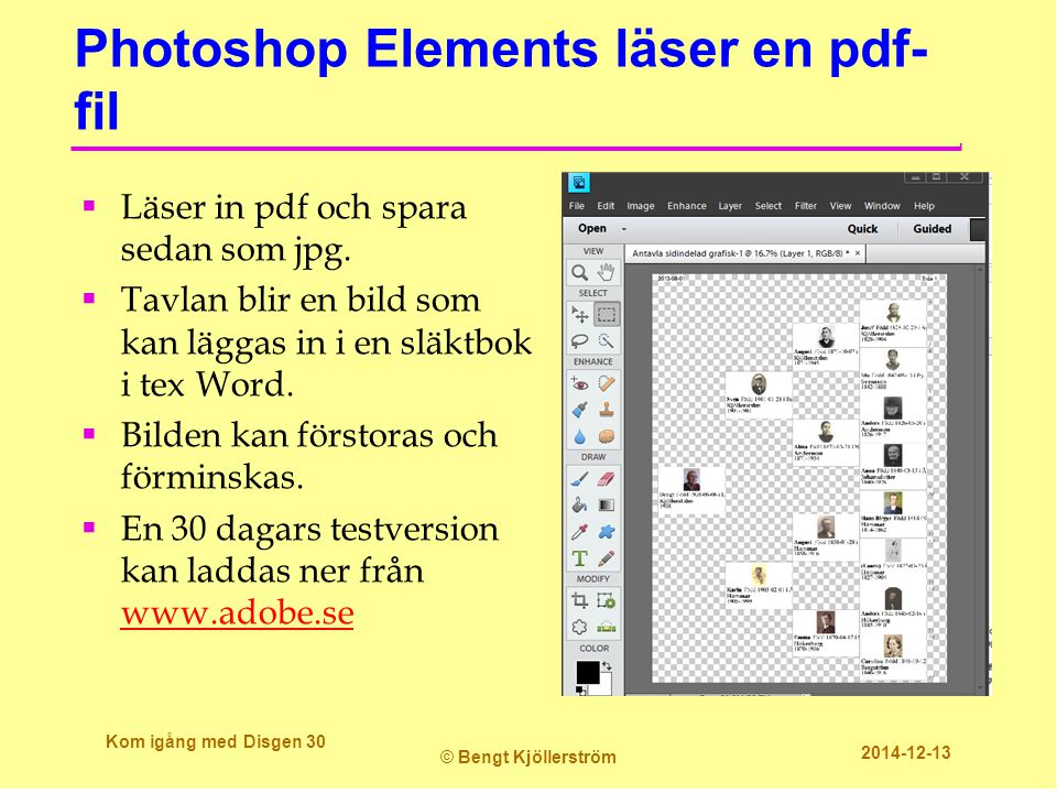 Photoshop Elements läser en pdf-fil