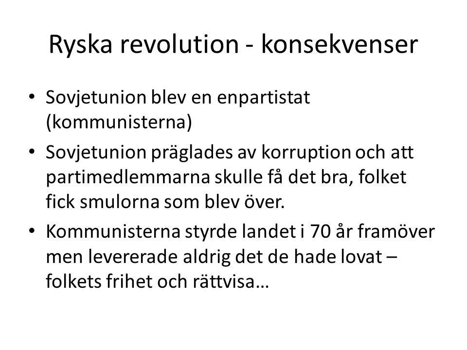 Ryska revolution - konsekvenser