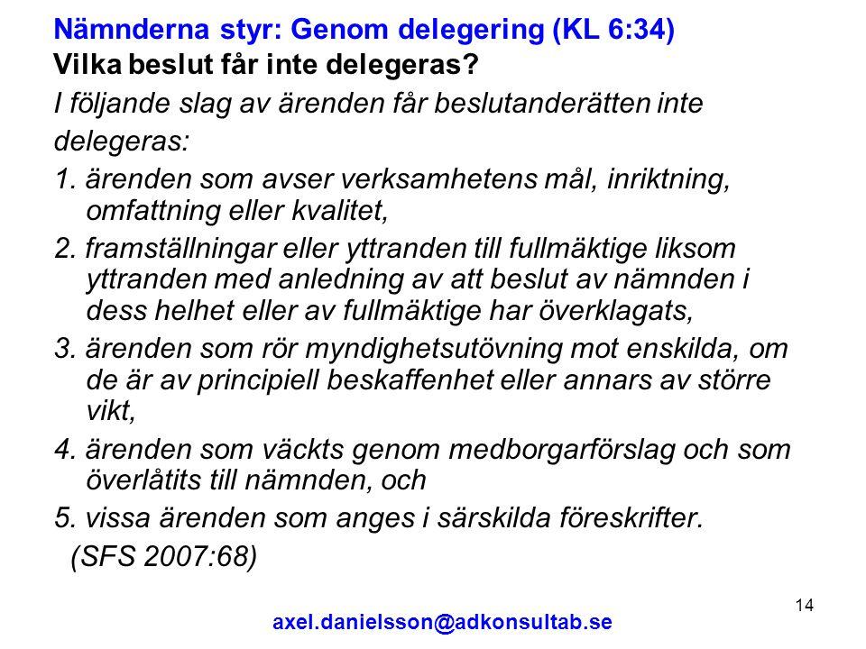 Nämnderna styr: Genom delegering (KL 6:34)