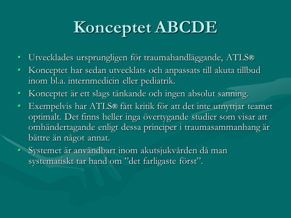 Konceptet ABCDE Utvecklades ursprungligen för traumahandläggande, ATLS®