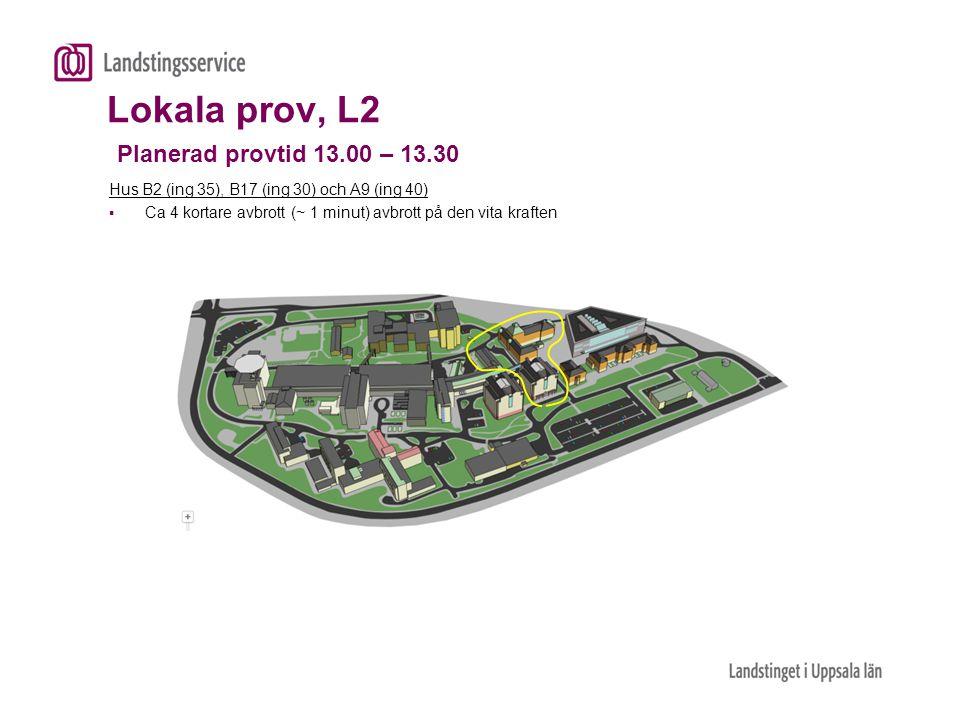 Lokala prov, L2 Planerad provtid 13.00 – 13.30