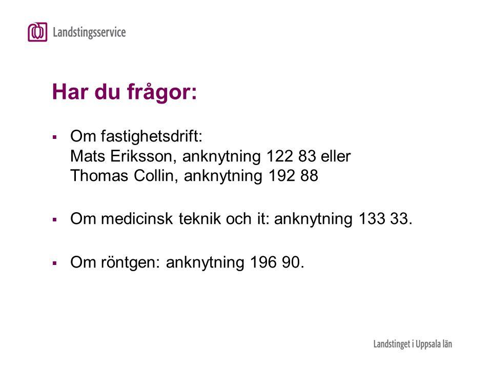 Har du frågor: Om fastighetsdrift: Mats Eriksson, anknytning 122 83 eller Thomas Collin, anknytning 192 88.