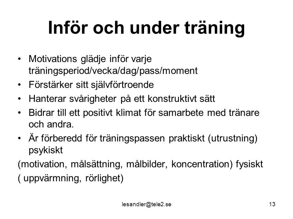 Inför och under träning