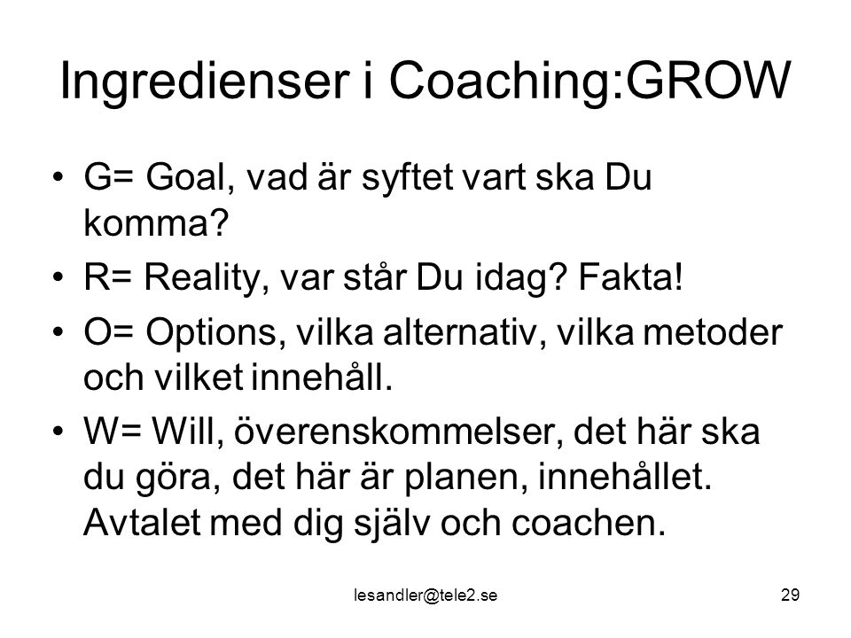 Ingredienser i Coaching:GROW