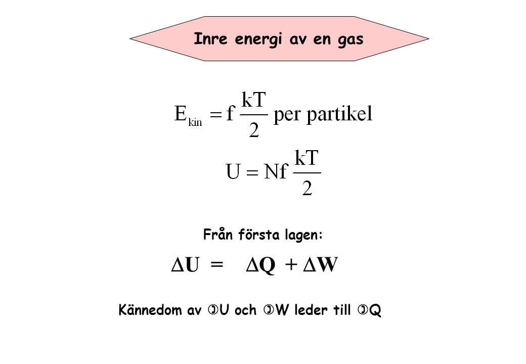 DU = DQ + DW Inre energi av en gas Från första lagen: