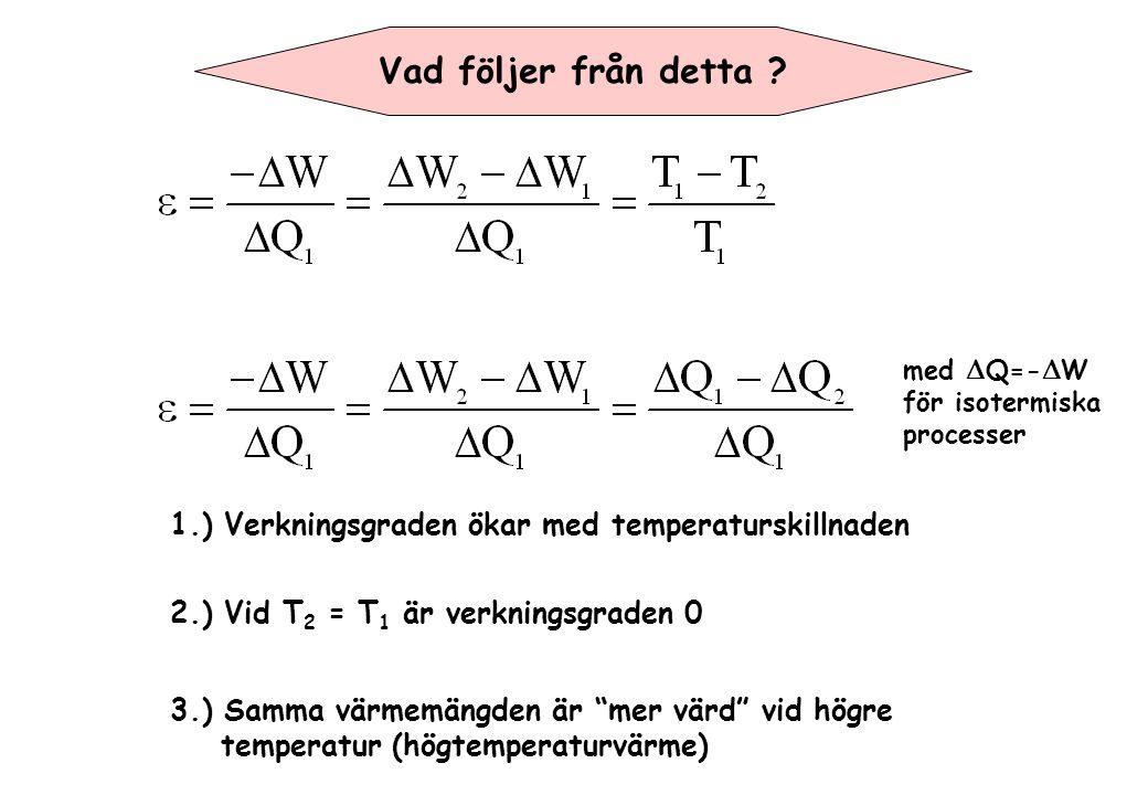 Vad följer från detta med DQ=-DW. för isotermiska. processer. 1.) Verkningsgraden ökar med temperaturskillnaden.