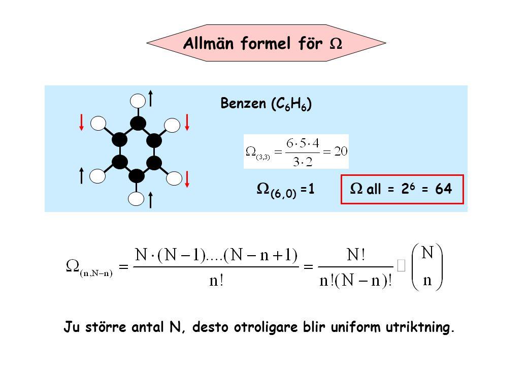 Allmän formel för W W(6,0) =1 W all = 26 = 64 Benzen (C6H6)
