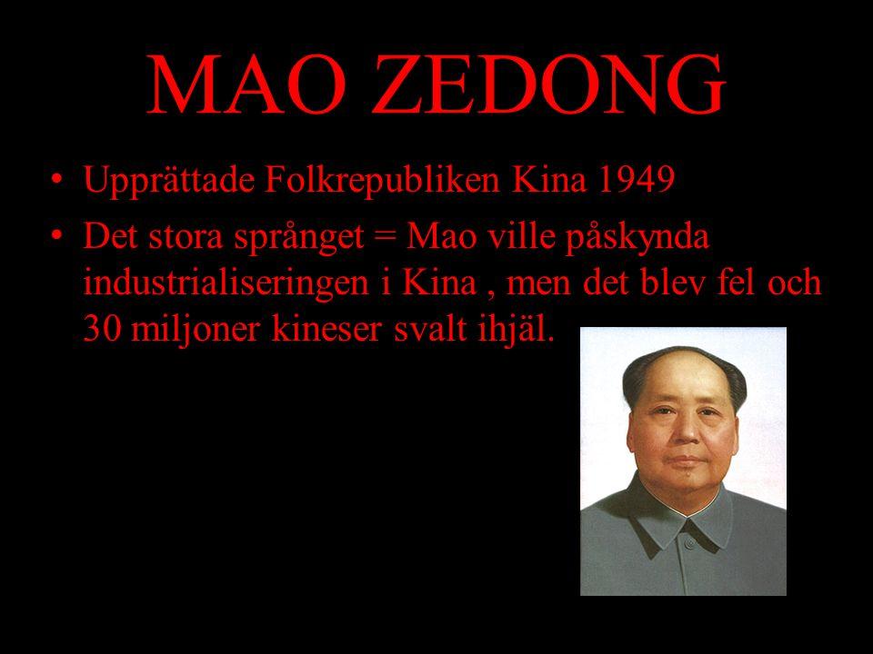 MAO ZEDONG Upprättade Folkrepubliken Kina 1949