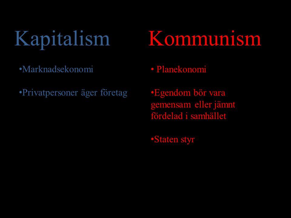 Kapitalism Kommunism Planekonomi Marknadsekonomi