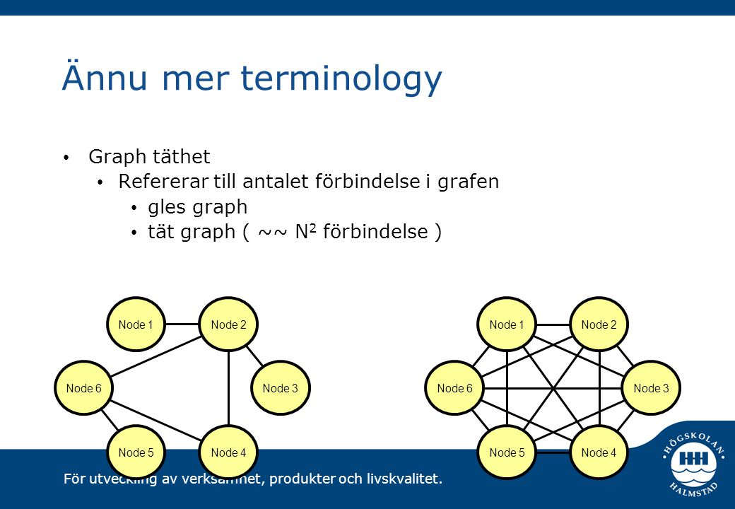 Ännu mer terminology Graph täthet