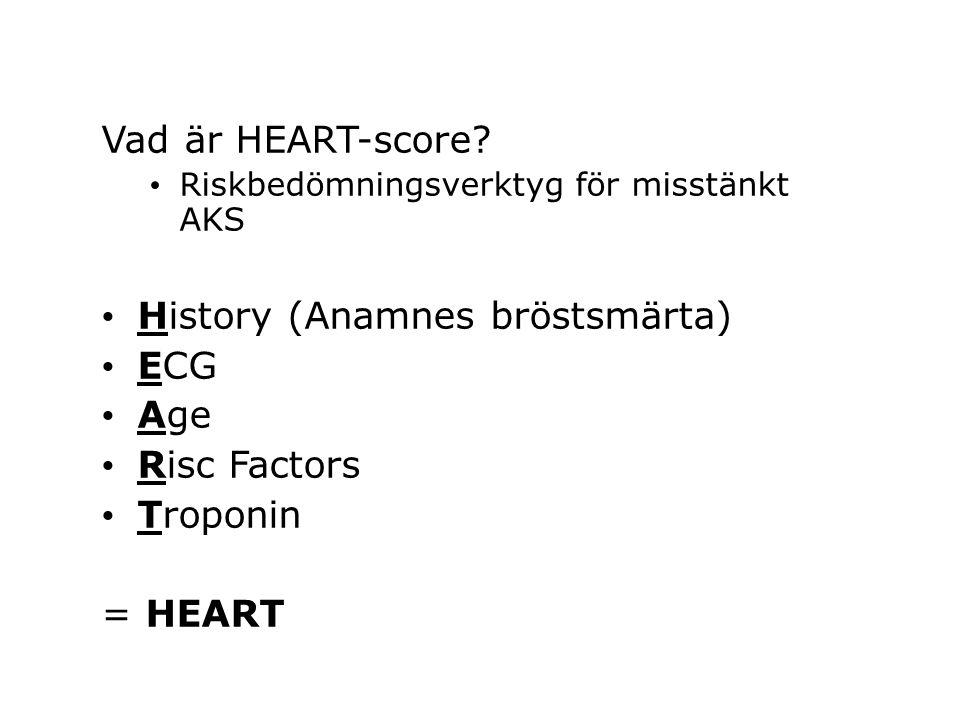 History (Anamnes bröstsmärta) ECG Age Risc Factors Troponin = HEART