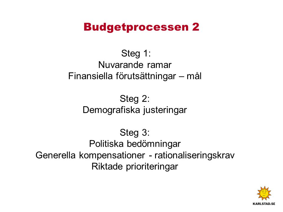 Budgetprocessen 2 Steg 1: Nuvarande ramar