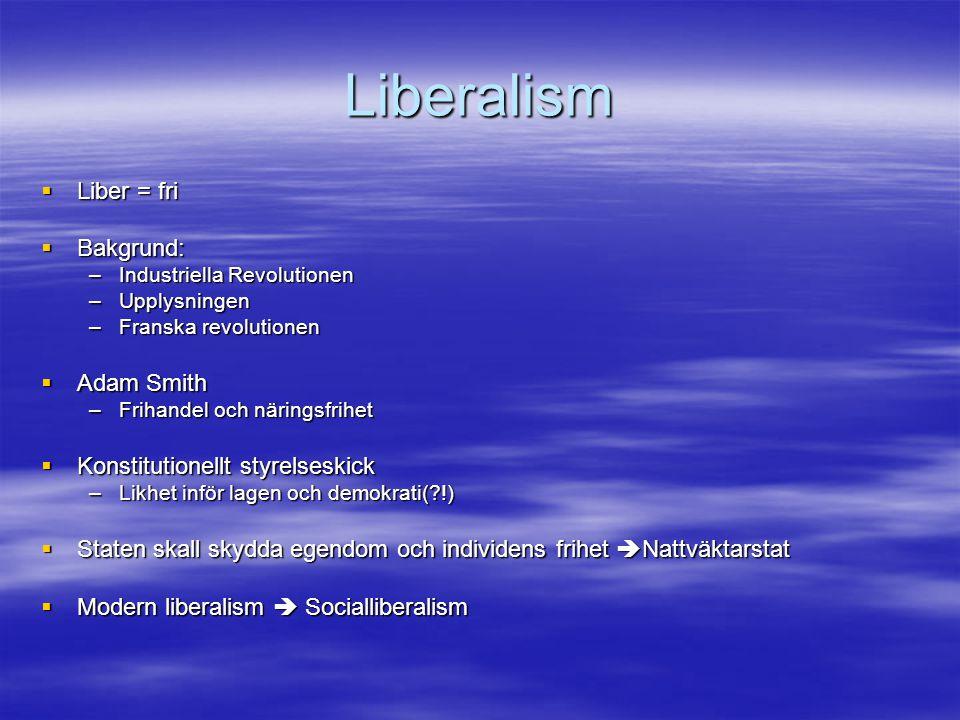 Liberalism Liber = fri Bakgrund: Adam Smith