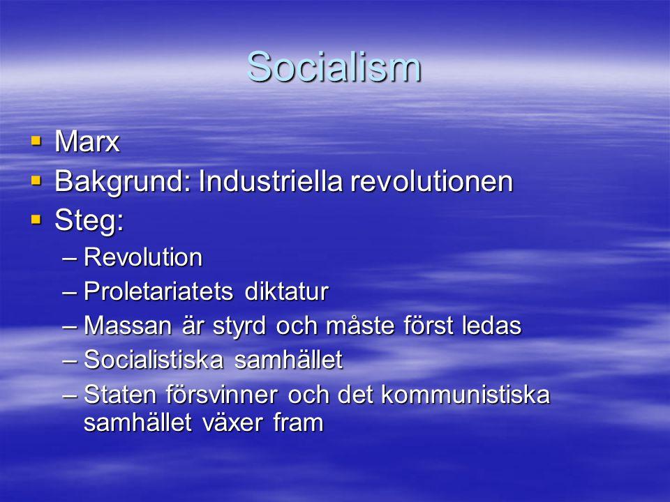 Socialism Marx Bakgrund: Industriella revolutionen Steg: Revolution