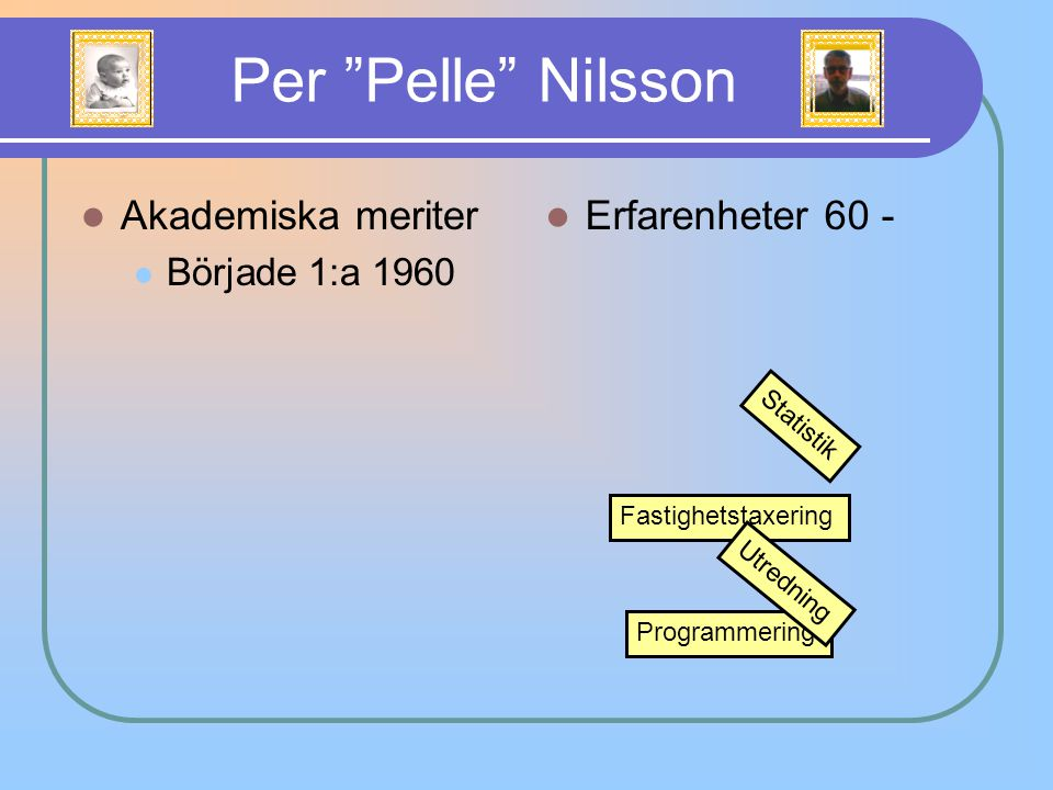 Per Pelle Nilsson Akademiska meriter Erfarenheter 60 -