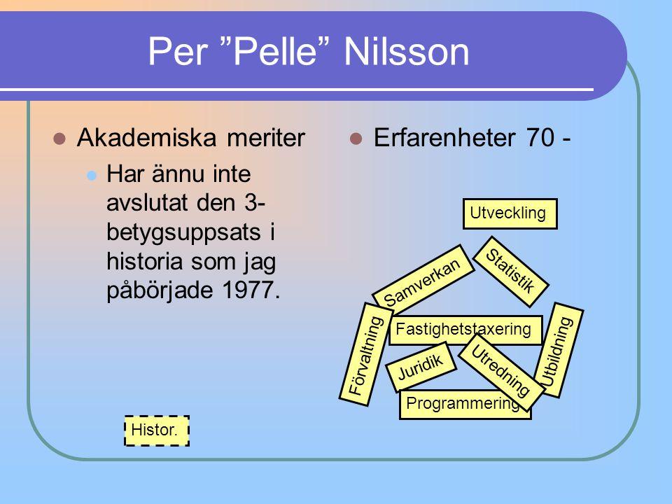 Per Pelle Nilsson Akademiska meriter Erfarenheter 70 -