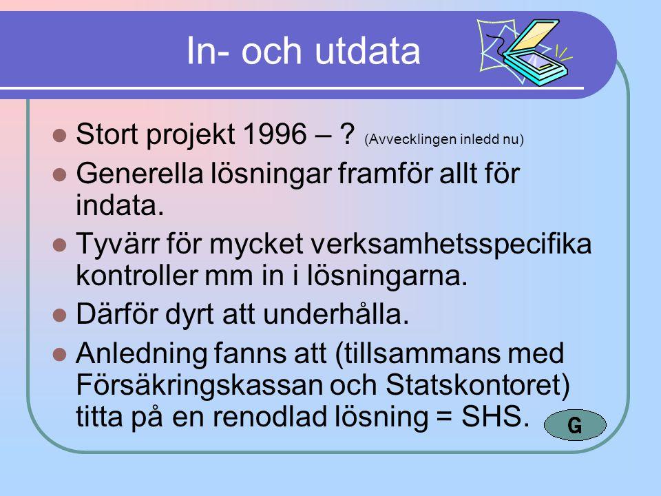 In- och utdata Stort projekt 1996 – (Avvecklingen inledd nu)