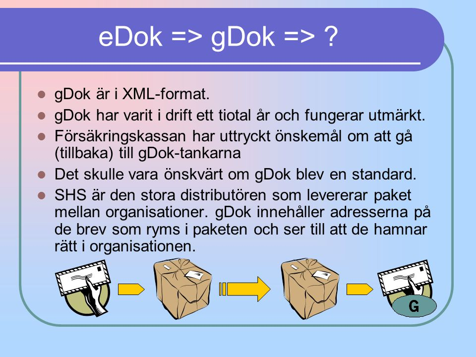 eDok => gDok => gDok är i XML-format.