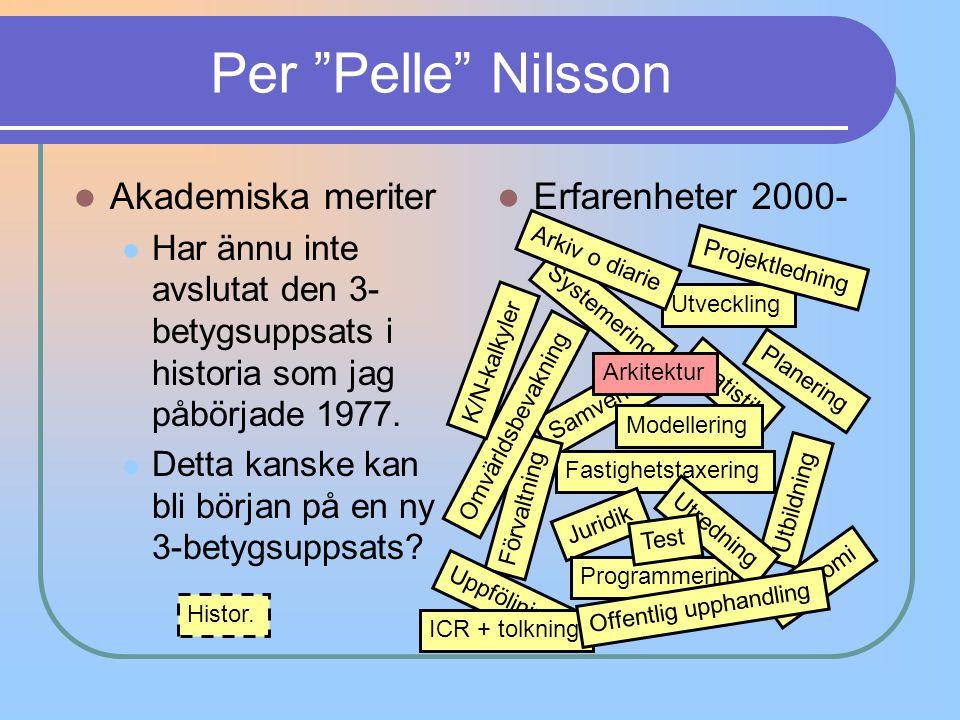 Per Pelle Nilsson Akademiska meriter Erfarenheter 2000-