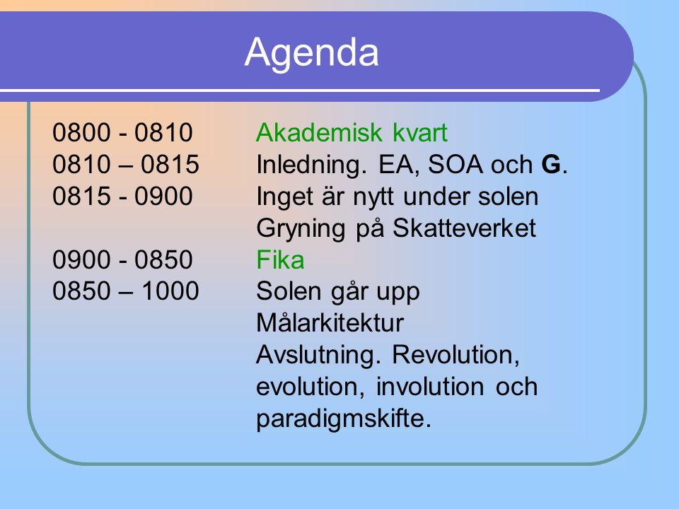 Agenda 0800 - 0810 Akademisk kvart
