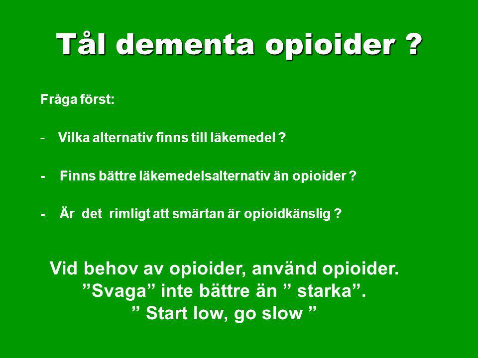 Tål dementa opioider Vid behov av opioider, använd opioider.