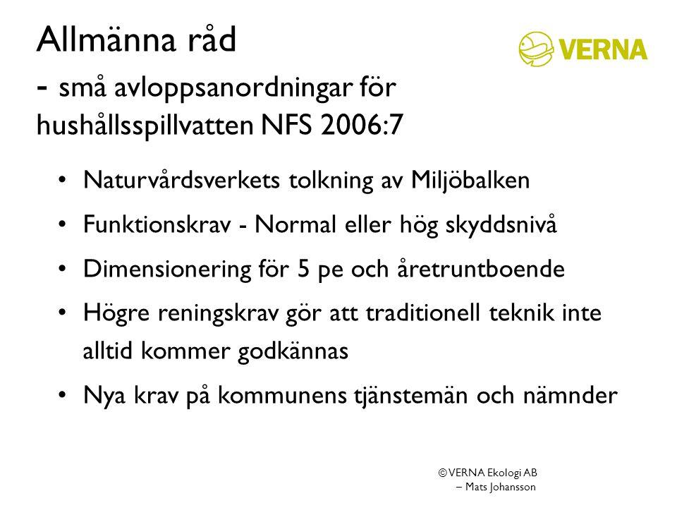 Allmänna råd - små avloppsanordningar för hushållsspillvatten NFS 2006:7