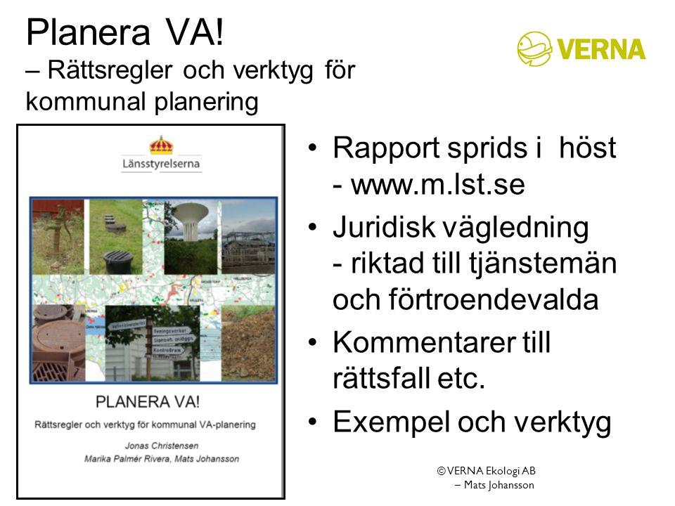 Planera VA! – Rättsregler och verktyg för kommunal planering