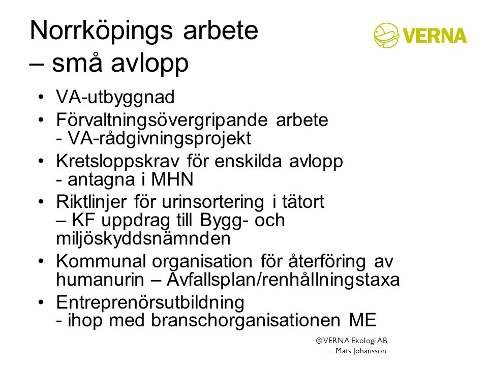 Norrköpings arbete – små avlopp