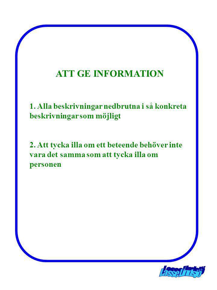 ATT GE INFORMATION 1. Alla beskrivningar nedbrutna i så konkreta beskrivningar som möjligt.