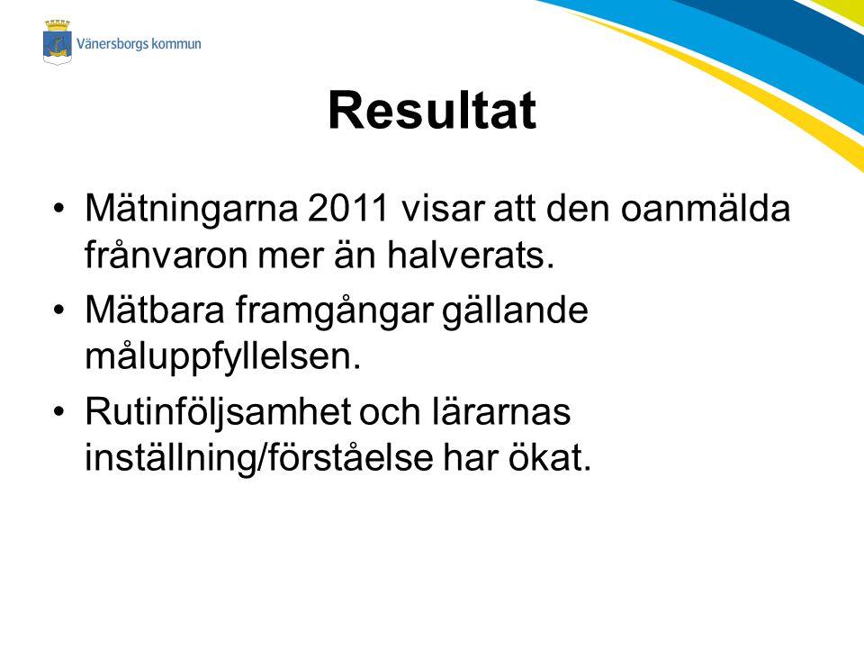 Resultat Mätningarna 2011 visar att den oanmälda frånvaron mer än halverats. Mätbara framgångar gällande måluppfyllelsen.