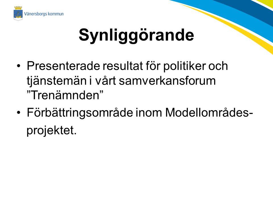 Synliggörande Presenterade resultat för politiker och tjänstemän i vårt samverkansforum Trenämnden