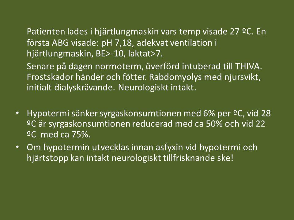 Patienten lades i hjärtlungmaskin vars temp visade 27 ºC