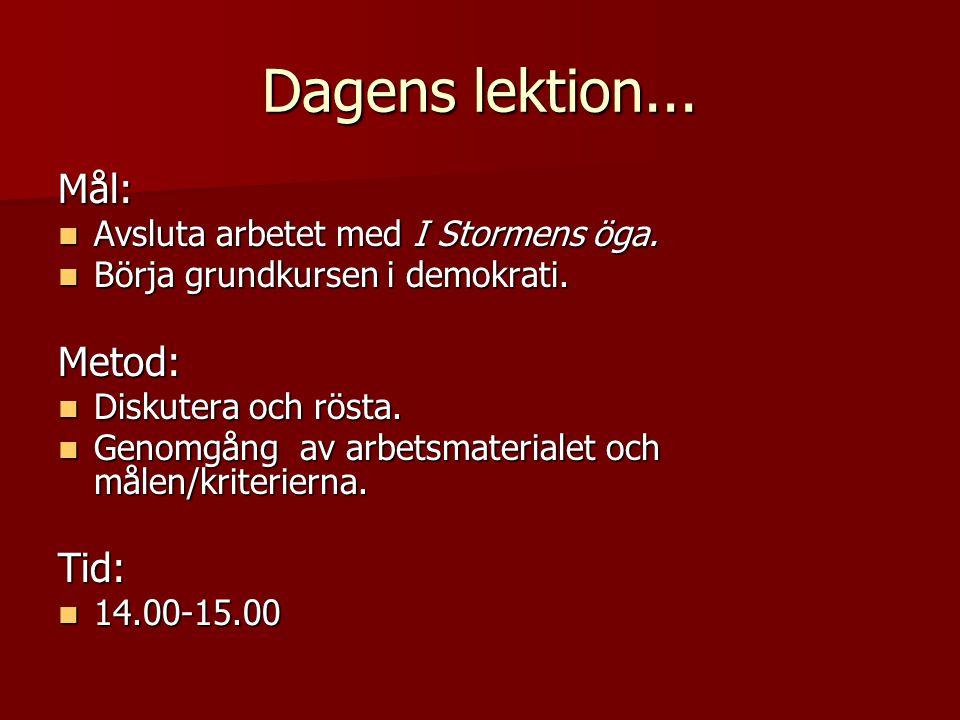 Dagens lektion... Mål: Metod: Tid: Avsluta arbetet med I Stormens öga.