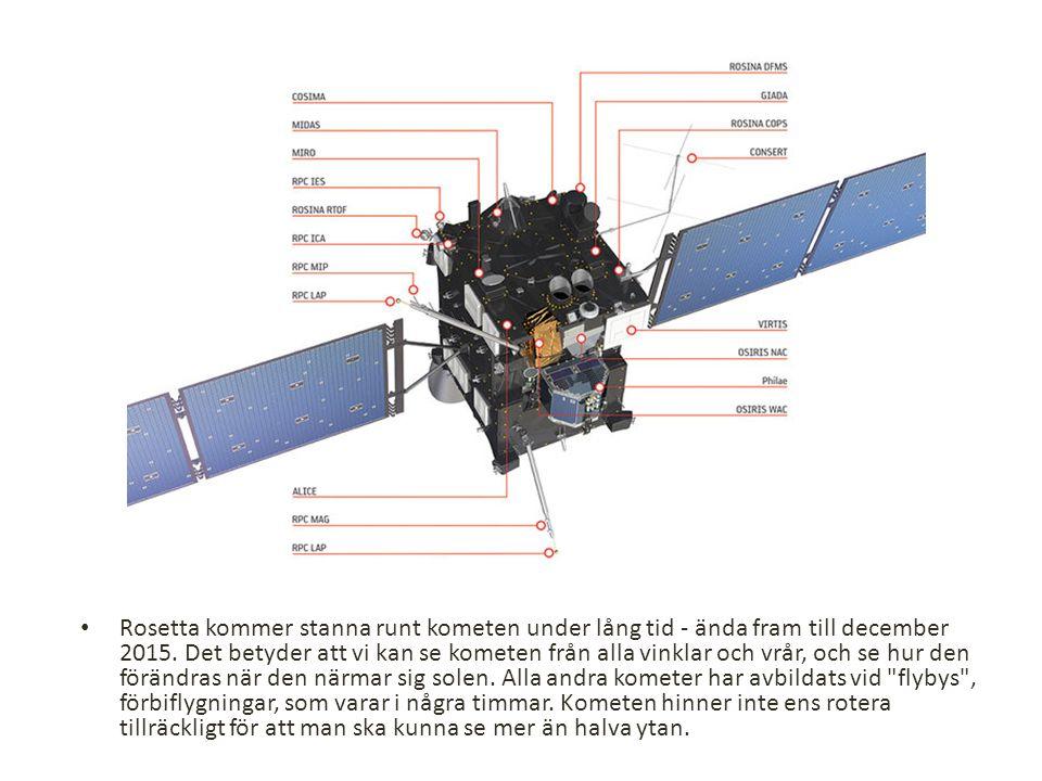 Rosetta kommer stanna runt kometen under lång tid - ända fram till december 2015.