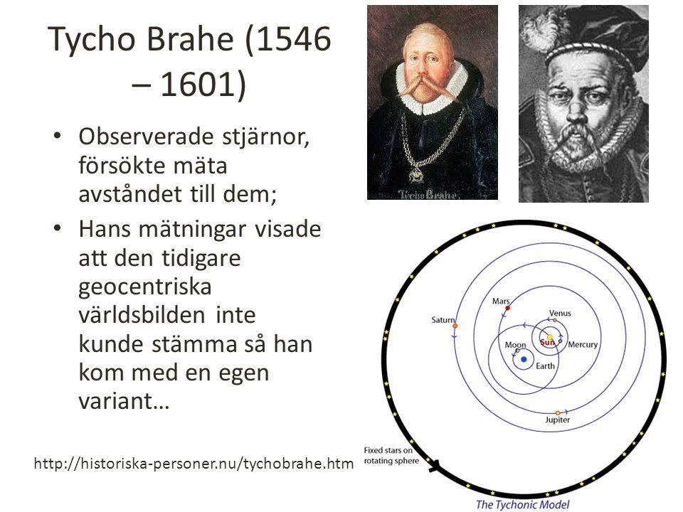 Tycho Brahe (1546 – 1601) Observerade stjärnor, försökte mäta avståndet till dem;