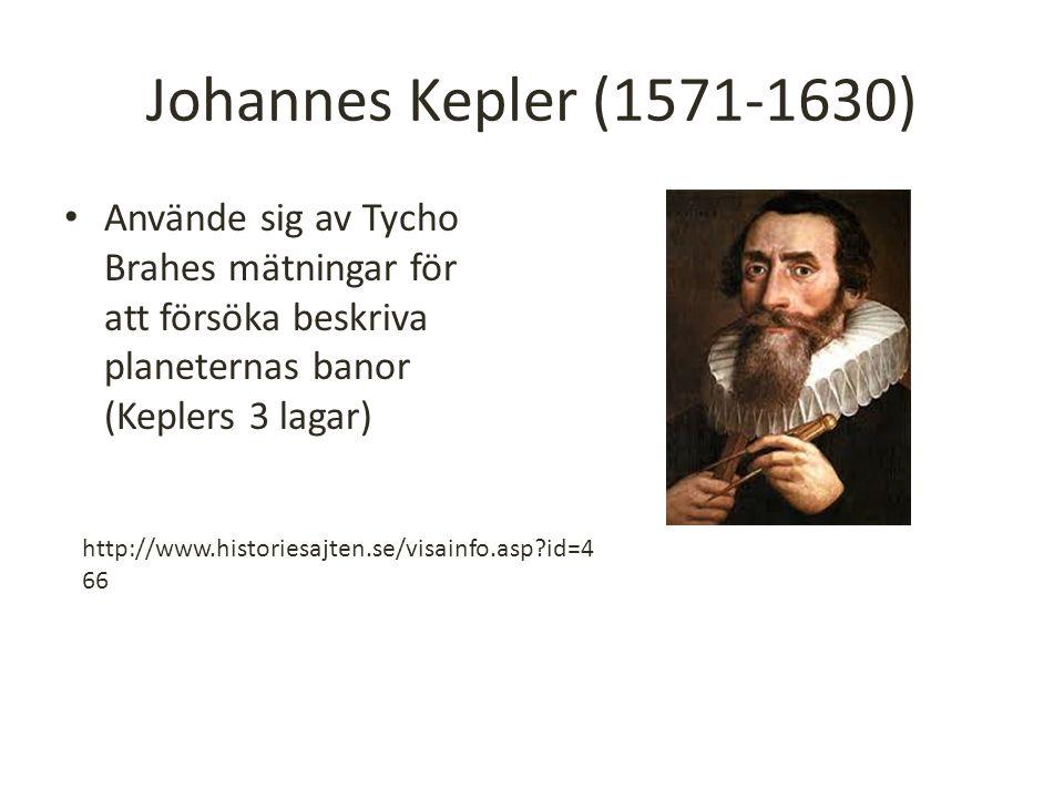 Johannes Kepler (1571-1630) Använde sig av Tycho Brahes mätningar för att försöka beskriva planeternas banor (Keplers 3 lagar)