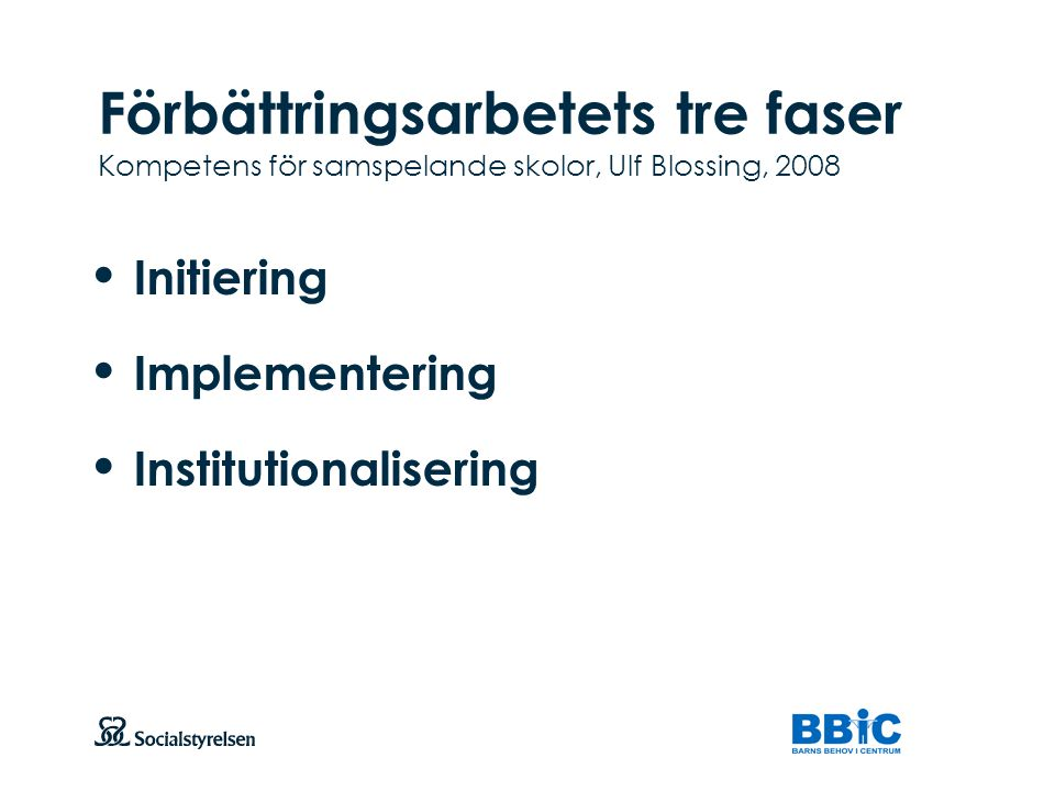 Initiering Implementering Institutionalisering