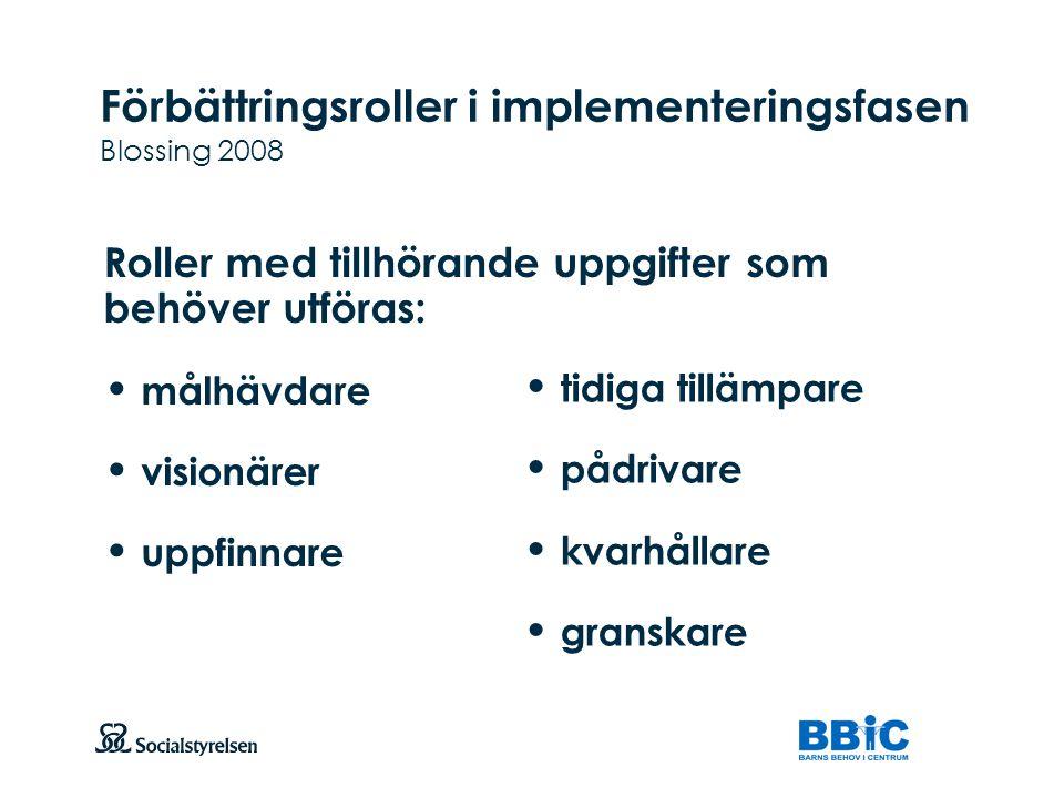 Förbättringsroller i implementeringsfasen Blossing 2008