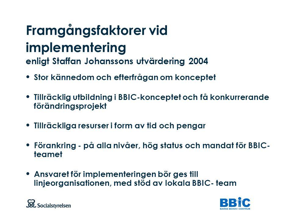 Framgångsfaktorer vid implementering enligt Staffan Johanssons utvärdering 2004
