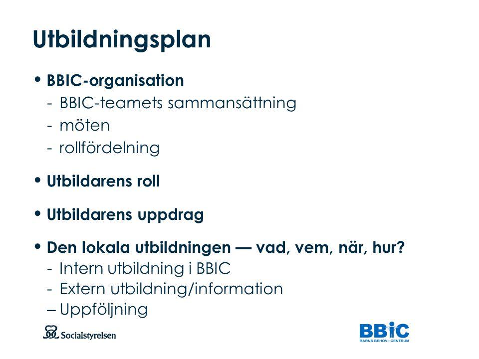 Utbildningsplan BBIC-organisation - BBIC-teamets sammansättning