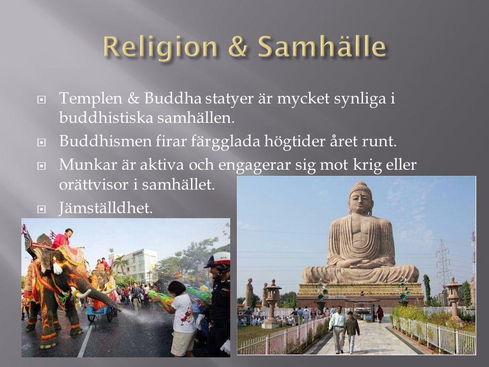 Religion & Samhälle Templen & Buddha statyer är mycket synliga i buddhistiska samhällen. Buddhismen firar färgglada högtider året runt.