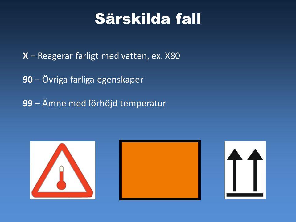 Särskilda fall X – Reagerar farligt med vatten, ex. X80