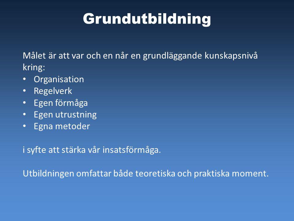 Grundutbildning Målet är att var och en når en grundläggande kunskapsnivå kring: Organisation. Regelverk.
